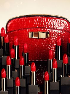 Vibrant red shades from the Burberry make-up collection and small leather accessories - gifts for her this festive season Burberry Make Up, Red Christmas Dress, Christmas Gifts, I See Red, Simply Red, Make Up Collection, Black White Red, Dark Red, Shades Of Red