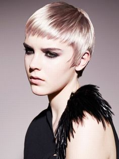 Blonde crop haircut with a multidimensional colour ice blonde with a hint of pink/purple great for those short looks that want something to stand out but still be beautifully soft.