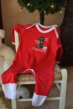 Personalised My First Christmas Sleepsuit pyjamas, lovely My 1st ...