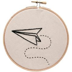 Kitsch and Stitch Paper Airplane Embroidered Wall Art (36 CAD) ❤ liked on Polyvore featuring home, home decor, wall art, fillers, bags, other and embroidery hoop
