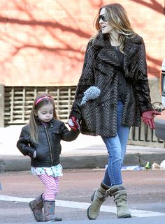 Sarah Jessica Parker and one her twins strolled in NYC March 5.