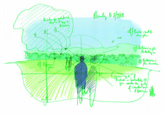 Renzo Piano's Ronchamp Expansion: Landscape sketch