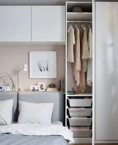 50 Best Bedroom Design Ideas for 2019 - The Trending House Bedroom Storage Ideas For Clothes, Bedroom Storage For Small Rooms, Storage Spaces, Small Bedroom Designs, Small Bedrooms, Small Bedroom Wardrobe, Pax Wardrobe, Master Bedroom, Gold Bedroom