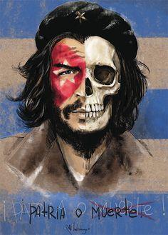 Ernesto Che Guevara - by Mimi ilnitskaya #che #cheguevara #skull #comandante #cuba #patriaomuerte #art #mimiilnitskaya #illustration #revolution