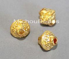 5 Bright GOLD 7mm BICONE Beads - 7x6.5mm Tibetan Double Cone w/ 1.3mm Hole Nickel Free Metal Boho Tribal  Spacer Bulk Beads - USA - 5841