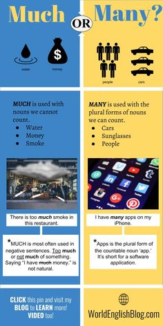 💬English grammar – Much or Many?- 💬English grammar – Much or Many? (+ English Video and lots of example sentences!) Learn the English grammar for countable and uncountable nouns. Easy English Grammar, English Grammar Tenses, Teaching English Grammar, English Language Learners, English Vocabulary Words, English Phrases, English Words, English Writing Skills, German Language