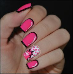 Comic book Nails- love this look! Fancy Nails, Love Nails, How To Do Nails, Pretty Nails, Style Nails, Pop Art Nails, Diy Nails, Comic Book Nails, Comic Nail Art