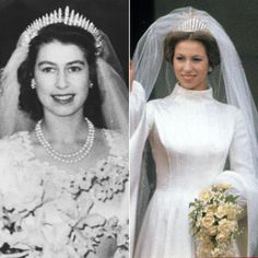 "QUEEN ELIZABETH AND DAUGHTER PRINCESS ANNE For her 1947 wedding to Prince Philip, Princess Elizabeth –who would become Queen Elizabeth II – wore Queen Mary's Fringe Tiara, consisting of 47 diamond bars using stones taken from a necklace Queen Mary had been given by Queen Victoria. The Fringe Tiara, passed on to Princess Elizabeth's mother in 1936, was loaned to the young Princess as the ""something borrowed"" element of her wedding outfit."