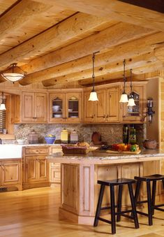 Log home - kitchen