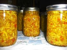 Yellow Squash Relish Recipe Process in water bath - 25 min for 6000 ft - makes about 5 pints
