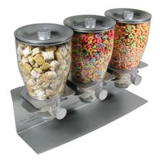Honey-Can-Do Triple Canister Dry Food Cereal Dispenser, Stainless Steel Dispenser Cereal, Candy Dispenser, Cereal Recipes, Dog Food Recipes, Hotel Breakfast, Breakfast Station, Frozen Yogurt Shop, Plastic Canisters, Ice Cream Candy