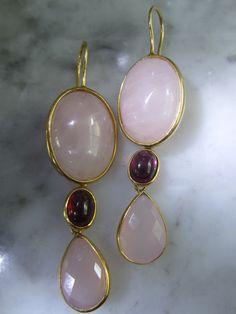 Granat - Ohrringe Rosenquartz Granat Edel Gold Ring - ein Designerstück von TOMKJustbe bei DaWanda