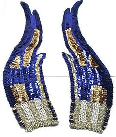 "Flame Pair with Royal Blue Sequins with Gold Accents and Beaded Bottom 12"" x 3"""
