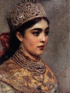 "Makovsky, Konstantin Egorovitch - ""Bojarishnya"" (noble russian girl) 1890, in russian folk costume and jewels."