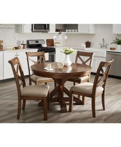 Image 2 of Mandara Expandable Round Furniture, Set (Round Dining Trestle Table & 6 X-Back Side Chairs) Round Table And Chairs, Trestle Dining Tables, Dining Room Table, Side Chairs, Expandable Round Dining Table, Kitchen Tables, Dining Area, Dining Rooms, Cheap Furniture