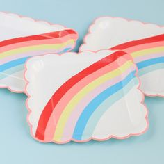 """Rainbow and Unicorn 9"""" Party Plates by Beau-coup"""