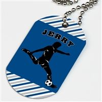 A Soccer Dog Tag Necklace is the perfect soccer gift for players or gift for soccer fans and supporters! Personalize our great designs with your name, team name, and more! Let everyone know in the stands who you are cheering for!