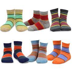 $9.99 for 6 pairs = $1.60 each - 3-5 yr - TeeHee Kids Boys Sports Stripe Cotton Crew Socks 6 Pair Pack (12-24M, Multi Stripe)