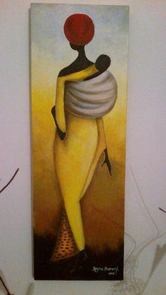 Pintura al oleo. 20x60 African Paintings, African Theme, Africa Art, Foto Art, African American Art, Learn To Paint, Black Art, Painting Inspiration, Female Art