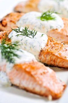 Grilled Salmon with Cucumber Sauce   www.allinthebalance.com