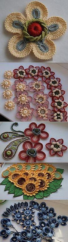 Diversas amostras de crochê para fazer apliques, bolsas, colares e muito mais