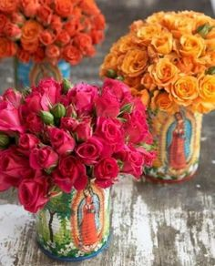 Painted Virgen de Guadalupe cans for flowers. Our Lady of Guadalupe Mexican Birthday Parties, Mexican Party, Mexican Style, Theme Parties, Viva Color, Bouquet Champetre, Ikebana, Deco Floral, Jolie Photo