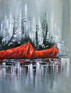 Pintura em tinta acrílica detalhes espatulados de Kátia Almeida.
