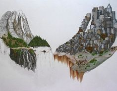 """The Man vs Nature Series serves to illustrate the many different ideas that we have about what place man has in nature. """"Valley Hands"""" drawing done with watercolor, fine art marker, and pen. Illustrates the dichotomy and balance between man's need of ci…"""