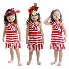 Frida Dress Red & Grey Stripes