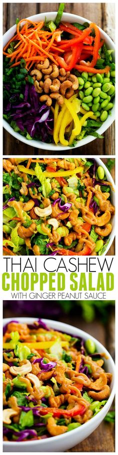 Cashew Chopped Salad with a Ginger Peanut Sauce This Thai Cashew Chopped Salad is full of amazing colors and flavors! The cashews give it an amazing crunch and the ginger peanut sauce is incredible! Healthy Salads, Healthy Eating, Clean Eating Salads, Thai Salads, Healthy Breakfasts, Healthy Bars, Ginger Peanut Sauce, Peanut Butter, Recipe Ginger