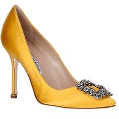 Manolo Blahnik Hangisi Satin Pump Yellow ($965) ❤ liked on Polyvore