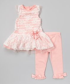 Light Orange Lace Tunic & Leggings - Infant #zulily #zulilyfinds
