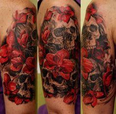 Tattoo-Foto: Skulls and Orchids
