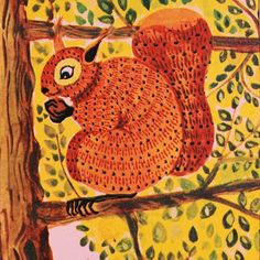 """Hungry Squirrel - Vintage Matted/Mounted Book Illustration 5"""" x 7"""" - Ready to Frame. From 'Good Night Owl.'"""