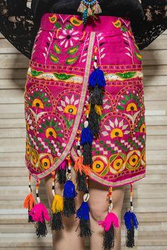 The Boho Mini skirt Embroidered Rabari by BohemianbagladyStore