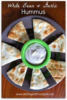 Slow Cooker White Bean and Garlic Hummus (Vegan) on MyRecipeMagic.com