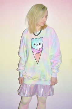TIE DYE CAT ICE CREAM JUMPER OVERSIZED GRUNGE 90s GALAXY CUTE PASTEL GOTH TOP