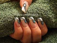Peacock´s feather as fingernail design - French summer motif - Step by step nail art instruction. Fingernail Designs, Nail Art Designs, Color Turquesa, Wedding Preparation, Wedding Makeup, Hair And Nails, Class Ring, Our Wedding, Manicure