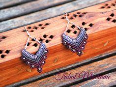 """purple macrame earrings """" lotus flower """" """" flor de loto """" https://www.facebook.com/tribalmacrame"""