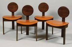 André SORNAY (1902-2000)  Suite de quatre chaises tripodes à dossier circul