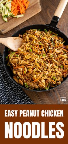 Easy Peanut Chicken Noodles - a delicious simple noodle stir fry with chicken, vegetables and a peanut sauce. Peanut Sauce Stir Fry, Peanut Sauce Chicken, Peanut Sauce Noodles, Chicken Stir Fry With Noodles, Chicken Noodle Recipes, Simple Chicken Stir Fry, Stir Fry Noodles, Chicken Ideas, Recipe Chicken