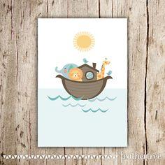 Noah's Ark Printable Art  Great for Nursery Kids by feathertree