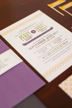 """Wedding Invitation SET -- Mid Century Modern """"Timeless Love"""" with Vintage Accents  -- 50 Invites, RSVP Postcards and Bellybands"""