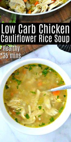 Low Carb Soup Recipes, Cauliflower Soup Recipes, Healthy Recipes, Chicken Cauliflower, Low Calorie Low Fat Recipes, Low Calorie Soups, Healthy Low Carb Meals, Keto Recipes, Diabetic Recipes