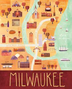 """Illustrated Milwaukee Map, 16"""" x 20"""", Digital Print. $65.00, via Etsy."""