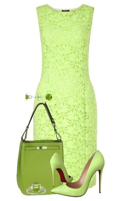A fashion look from September 2016 featuring green cocktail dress, Christian Louboutin and leather handbags. Browse and shop related looks. Classy Outfits, Pretty Outfits, Beautiful Outfits, Cute Outfits, Outing Outfit, Outfit Sets, Jw Mode, Modest Fashion, Fashion Dresses