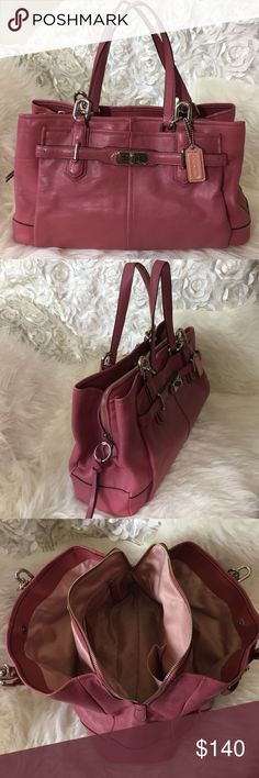 COACH Pre❤️'d COACH bag. Worn only few times, inside of the bag is fairly clean, it's very light pink so it shows it's been used. 4th pic shows small wear, nothing big or noticeable.  It has 3 large pockets and 4 small pockets inside. One large pocket outside. Beautiful bag for busy person...it holds it ALL  14.5x10x4 Coach Bags