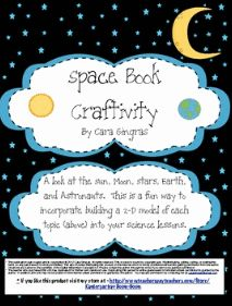 Space Book Craftivity -   This is a craftivity that focuses on nonfiction facts about the earth, moon, stars, sun, and astronauts. I complete this activity every year with my kiddos during my space unit. This packet includes materials to create the book and how to use it in class. It is about a week and a half worth of lessons focused on the above topics. $1.50