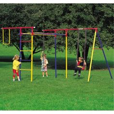 Kettler Home Playground Equipment: Trimmstation Swing Set (Board Swing, Monkey Bars, Rope Climb), Youth Ages 3 to 8 Swing Set Kits, Best Swing Sets, Play Swing Set, Metal Swing Sets, Home Playground Equipment, Backyard Playground, Baby Garden Swing, Little Tikes Swing Set, Play Structures For Kids