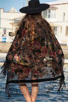 Burnout Velvet Kimono Jacket Fringe Kimono by SunshineDreamerr